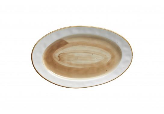 Тарелка овальная (30х18см) светло-коричневая