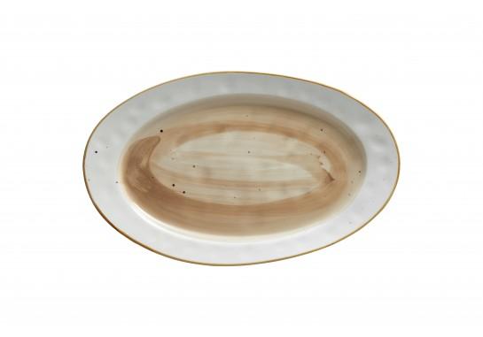 Тарелка овальная (36х22см) светло-коричневая