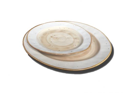 Тарелка круглая 19см светло-коричневая