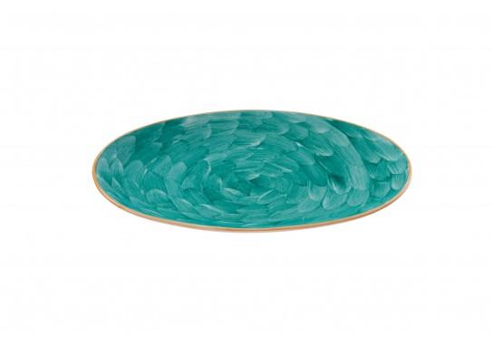 "Тарелка овальная без борта 9,75"" (25*16 см) turquoise 60(6)шт F1119-9,75-D-1 (акварель)"