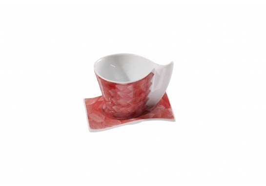 Чашка чайная с блюдцем (220мл) red (6шт) F1190+F1191-D-6 (акварель)