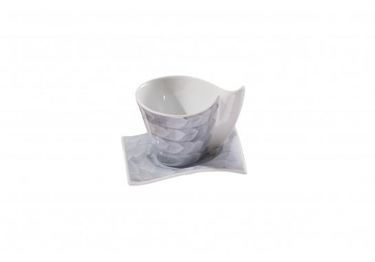 Чашка чайная с блюдцем (220мл) grey (6шт) F1190+F1191-D-3 (акварель)