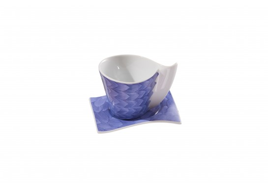 Чашка чайная с блюдцем (220мл) lilac (6шт) F1190+F1191-D-5 (акварель)
