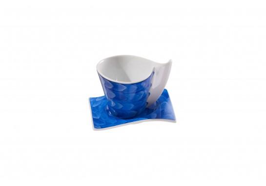 Чашка чайная с блюдцем (220мл) cobalt (6шт) F1190+F1191-D-4 (акварель)