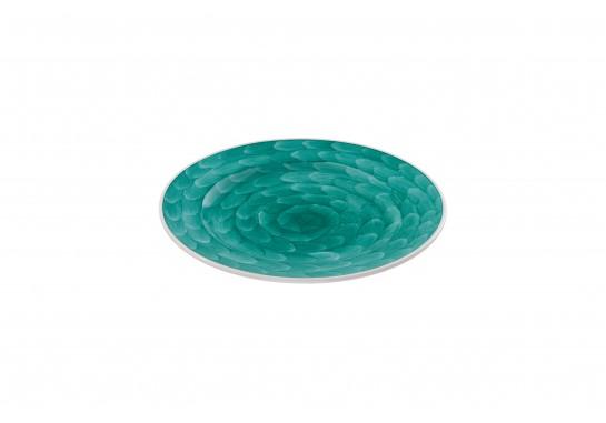 """Тарелка круглая 9"""" (23см) turquoise с бортом 30(6)шт  F0087-9-D-1 (акварель)"""