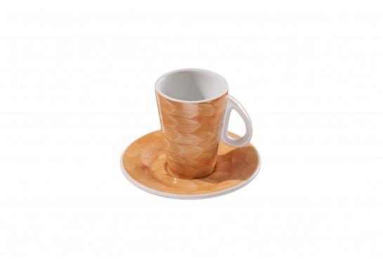Чашка с блюдцем (60мл) caramel 144(12)шт F2773+F2774-D-2 (акварель)