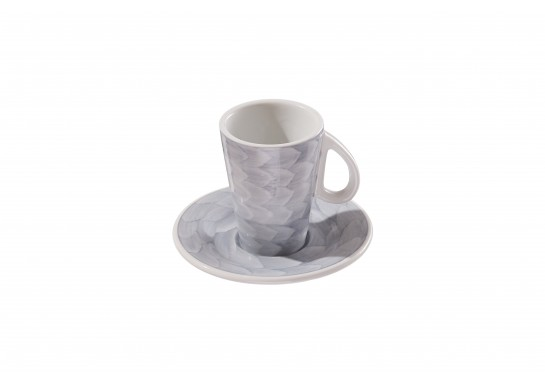 Чашка с блюдцем (60мл) grey 144(12)шт F2773+F2774-D-3 (акварель)