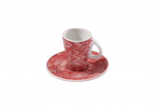 Чашка с блюдцем (60мл) red 144(12)шт F2773+F2774-D-6 (акварель)