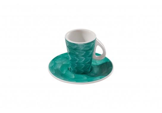 Чашка с блюдцем (60мл) turquoise 144(12)шт F2773+F2774-D-1 (акварель)