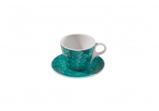"Чашка c блюдцем ""Lavazza"" (360мл) turquoise 60(6)шт F2437+F2438-D-1 (акварель)"