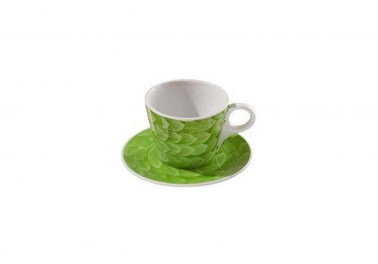 """Чашка c блюдцем """"Lavazza"""" (240мл) lime 60(6)шт F2435+F2436-D-7 (акварель)"""