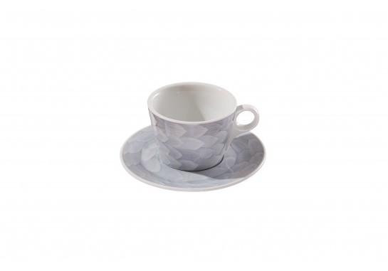 """Чашка c блюдцем """"Lavazza"""" (240мл) grey 60(6)шт F2435+F2436-D-3 (акварель)"""