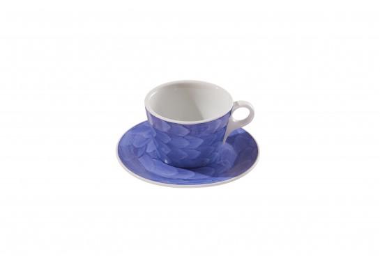 """Чашка c блюдцем """"Lavazza"""" (240мл) lilac 60(6)шт F2435+F2436-D-5 (акварель)"""
