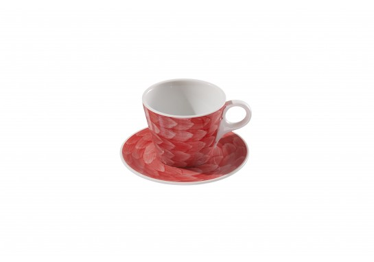 """Чашка c блюдцем """"Lavazza"""" (240мл) red 60(6)шт F2435+F2436-D-6 (акварель)"""