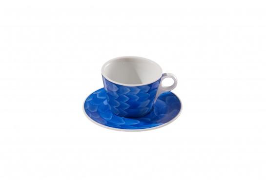 """Чашка c блюдцем """"Lavazza"""" (240мл) cobalt 60(6)шт F2435+F2436-D-4 (акварель)"""