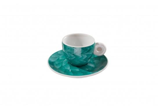 "Чашка с блюдцем ""Illy"" turquoise (60мл) 120(12)шт F2530+F2531-D-1 (акварель)"