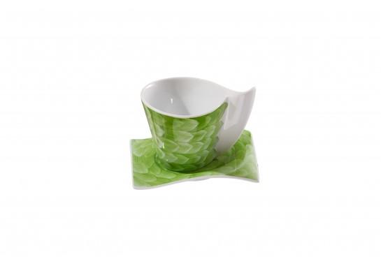 Чашка чайная с блюдцем (220мл) lime (6шт) F1190+F1191-D-7 (акварель)
