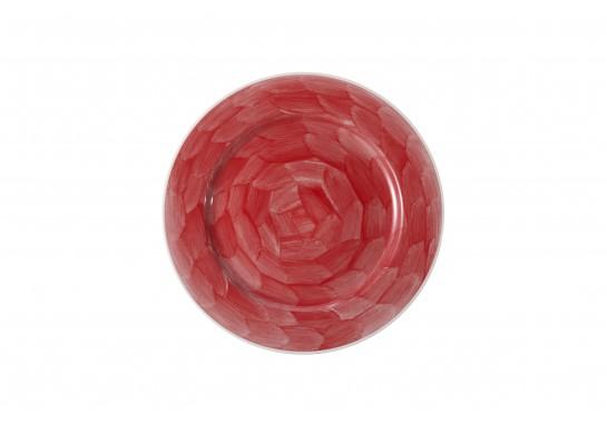 """Тарелка круглая 11"""" (28см) red с бортом 20(4)шт F0087-11-D-6 (акварель)"""