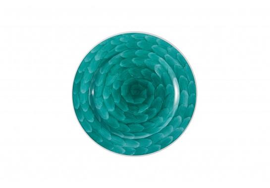 """Тарелка круглая 11"""" (28см) turquoise с бортом 20(4)шт F0087-11-D-1 (акварель)"""
