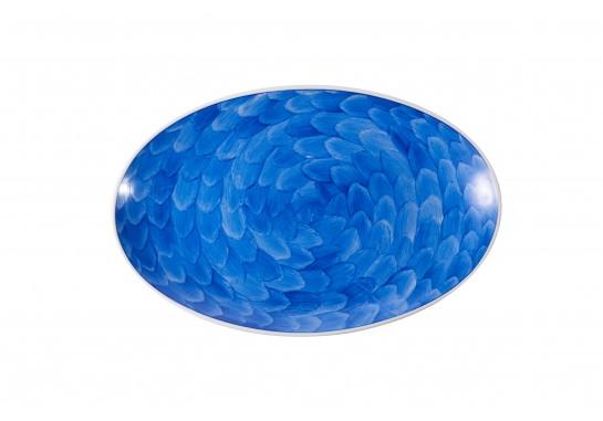 """Тарелка овальная без борта 13,75""""(35.5*22.5см) cobalt 20(4)шт F1119-13,75-D-4 (акварель)"""