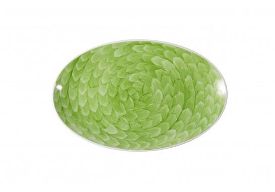 """Тарелка овальная без борта 9,75"""" (25*16 см) lime 60(6)шт F1119-9,75-D-7(акварель)"""
