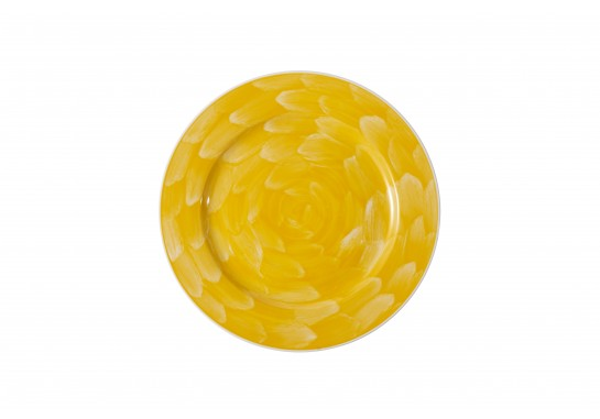 "Тарелка круглая 11"" (28см) yellow с бортом 20(4)шт F0087-11-D-8 (акварель)"