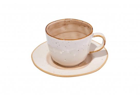 Чашка с блюдцем 250 мл светло-коричневая